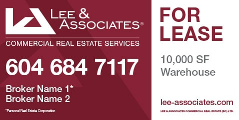 Coloured Horizontal Lee & Associate For Lease Sign
