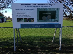 Coloured Horizontal Ladner Sports Fields Sign Street View