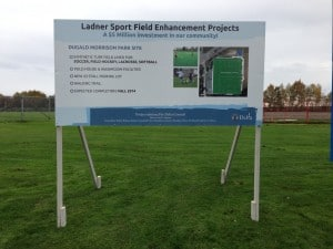 Coloured Horizontal Ladner Sport Field Sign Street View