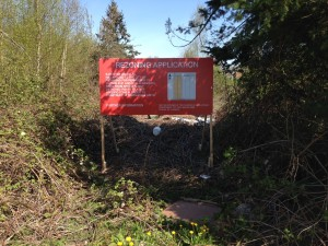 Red Richmond Rezoning Application Sign Street View