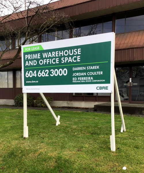 Coloured Horizontal For Lease CBRE Signs Street View