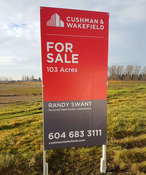 Coloured Verticle For Sale Cushman & Wakefield Signs Street View