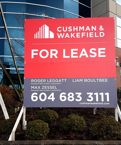 Coloured Square For Lease Cushman & Wakefield Sign Street View