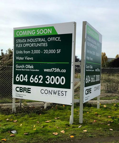 Coloured Square Coming Soon CBRE Sign Street View