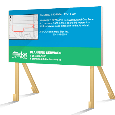 Coloured Abbotsford Rezoning Sign