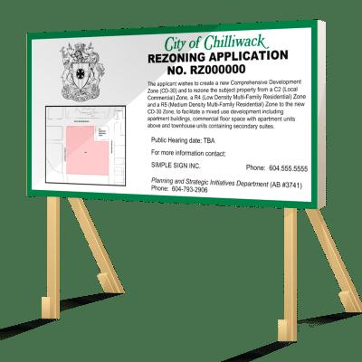Coloured Chilliwack Rezoning Application Sign