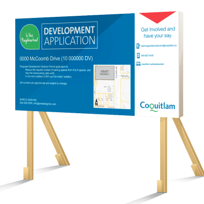 Coloured Coquitlam Development Application Sign