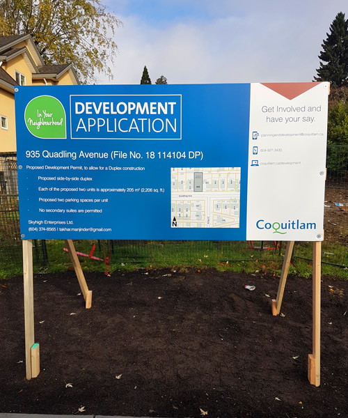Coloured Coquitlam Development Application Sign Street View