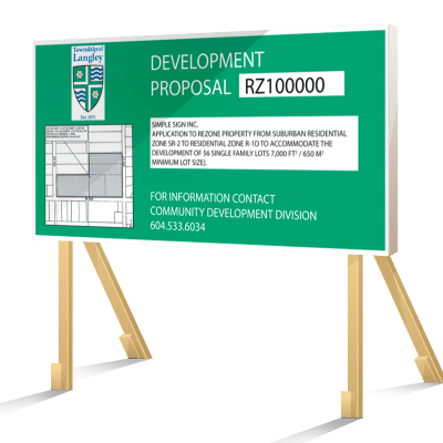 Green Langley Development Proposal Sign
