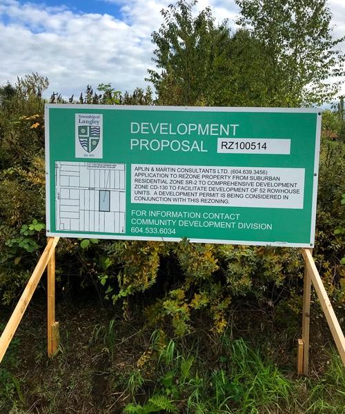 Green Langley Development Proposal Sign Street View