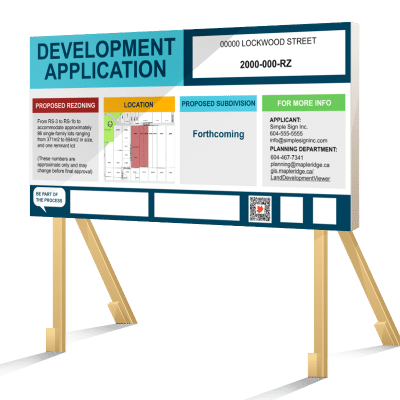 Coloured Maple Ridge Development Application Sign