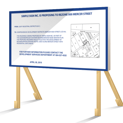 Blue New Westminster Rezoning Sign