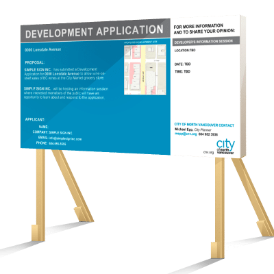 Coloured North Vancouver Development Application Sign
