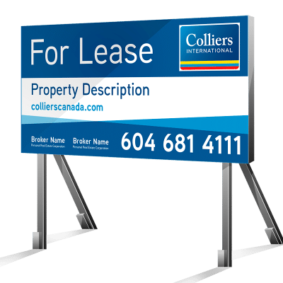 Coloured Horizontal For Lease Colliers Signs
