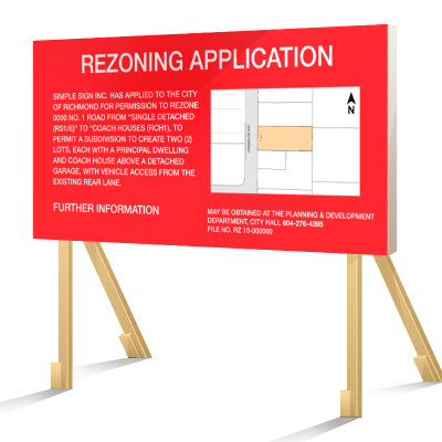 Red Richmond Rezoning Application Sign