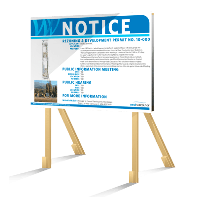 Coloured Horizontal West Vancouver Rezoning Sign