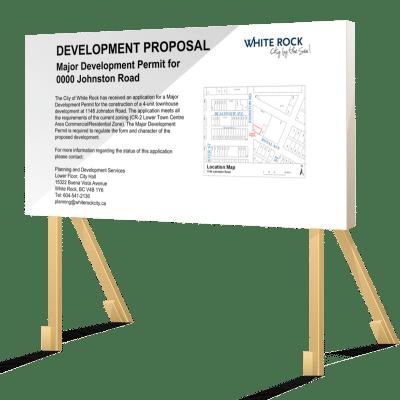 White Rock Development Proposal Sign