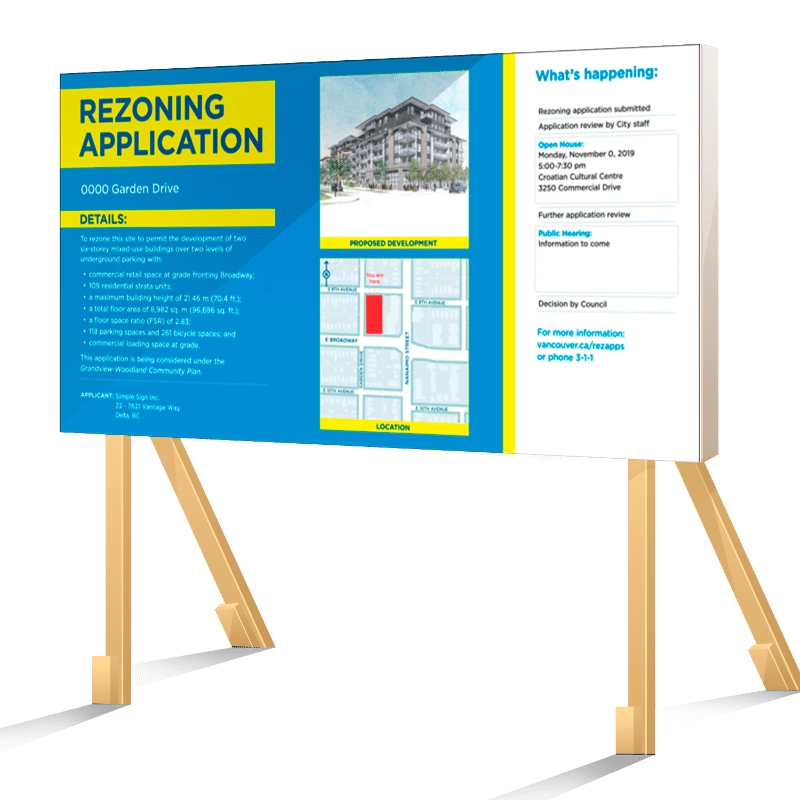 Coloured Horizontal Vancouver Rezoning Application Sign