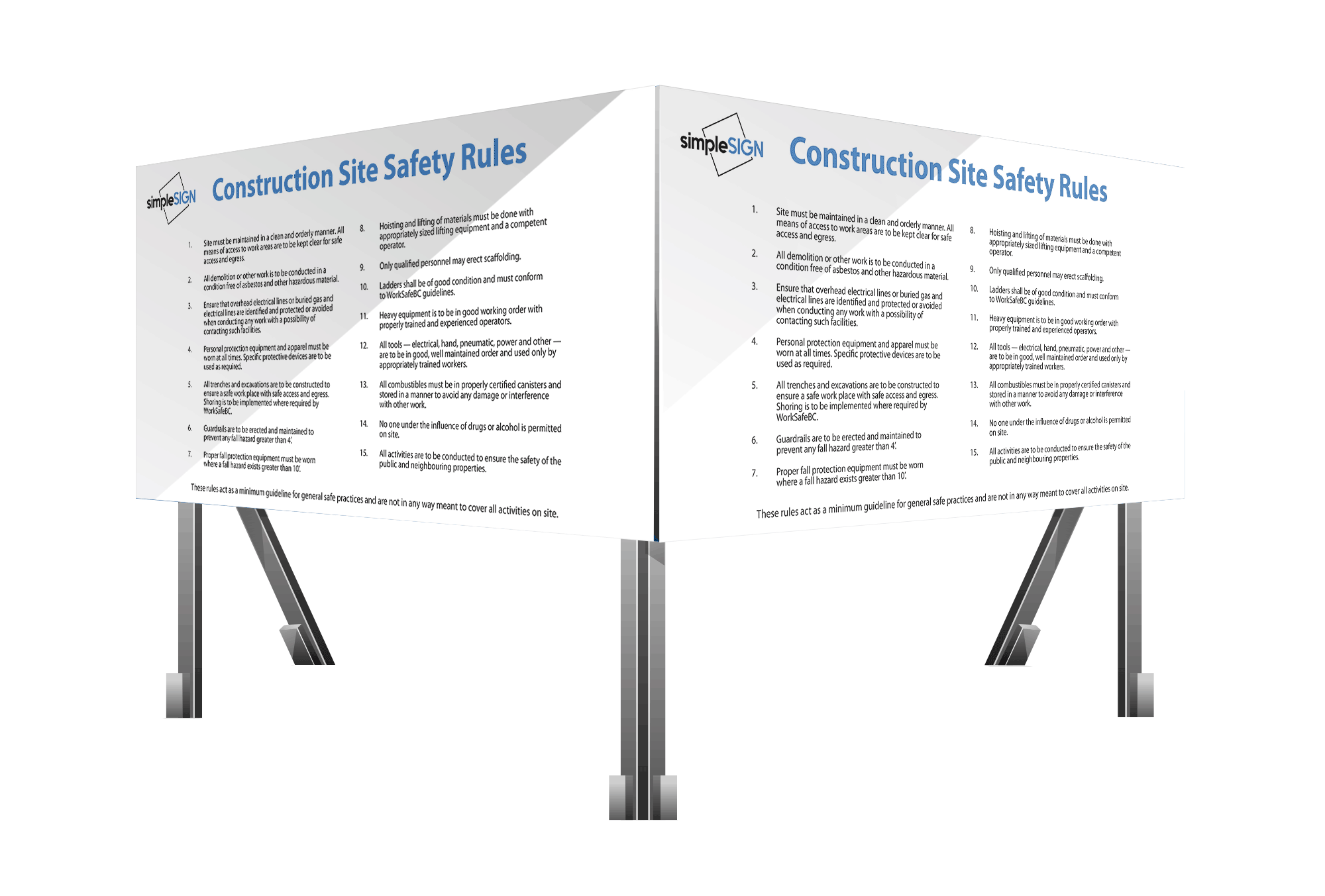 Construction Site Safety Rules Signs